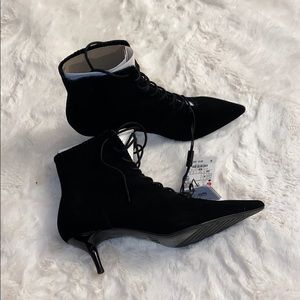 ❤️Zara Kitten heel Lace-up Leather Ankle Boots❤️